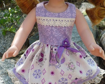Wellie Wisher lavender and cream sleeveless dress