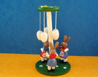 ERZGEBIRGE FOLK ART Easter Rabbits Maypole Hand Made Hand Painted Germany 1960/70s