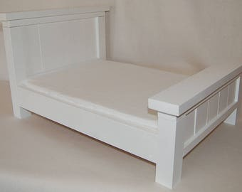 Farmhouse Doll or Pet Bed, White slats