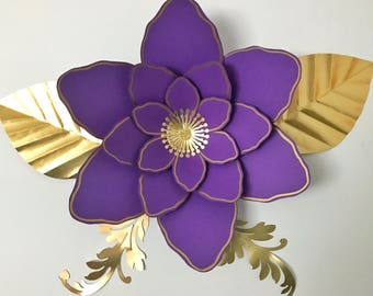 PDF Petal #61 Paper Flower Template with Base, DIGITAL Version - The Royal Violet - Original Design by Annie Rose