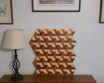 Wood  3D Wall Art, Geometric Wood Art, 3D Wood Art, Wood Wall Art