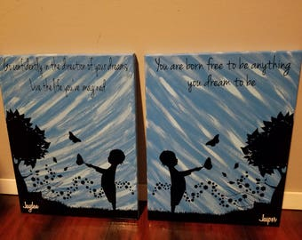 Set of 2 11x14 canvas. Child with flowers blowing in the wind. Inspiration quote and customized name included.