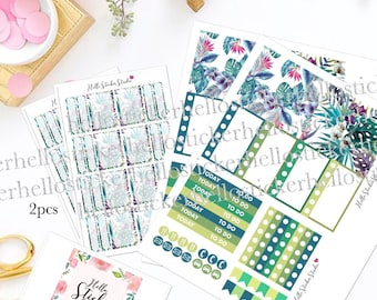 Set of stickers sticker tropical theme for agenda planner