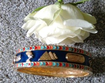 Stunning Vintage Gold Tone Bangle With Egyptian Hieroglyphs - Gift Boxed.