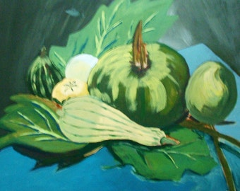 Painting in acrylic ' still life with gourds '