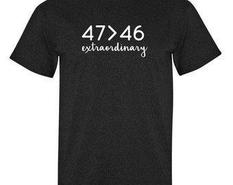 47 greater 46 (Down syndrome short sleeve t-shirt)