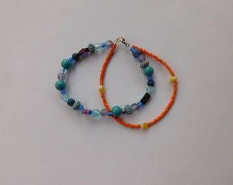 Orange & blue beaded wire bracelet
