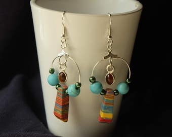 Pasta and glass, Boho earrings jewelry, earrings