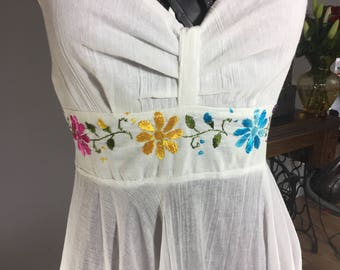 Vintage White Summer Dress Pink Yellow Blue Halter Top Sundress Embroidered Flowers