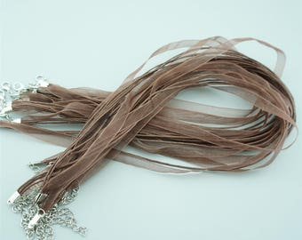 50pcs 16-18 Inches Brown Ribbon Necklace Cords Chains For DIY Jewelry S015