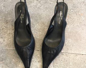 Vintage Jill Stuart Black Leather Slingback Pumps Heels, 90s Women Shoes