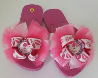 Girls flip flops barbie flip flops size medium size 10/11