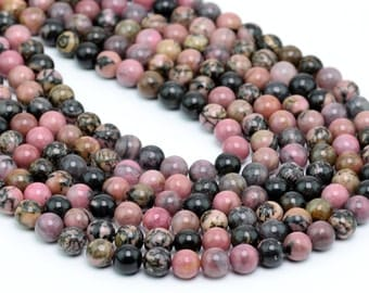 "6MM Rhodonite Natural Gemstone Round Shape Full Strand Loose Beads 15.5"" (100065-257)"