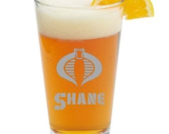 Cobra-GI Joe- Personalized Glass- Themed Pint Glasses-Beer Glass