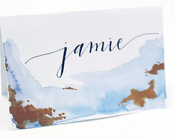 CUSTOMIZABLE Watercolor Gold Speckle Place Cards