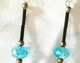Coral Bay aqua shell & bead drop earrings