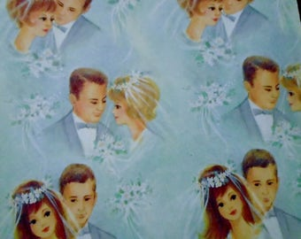 Vintage Bride and Groom Wedding Wrapping Paper
