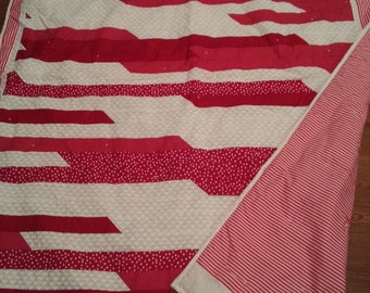 """Quilt- Red & White throw- 58"""" X 69"""""""