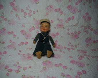"""8"""" Cloth and composition or porcelain sailor doll"""