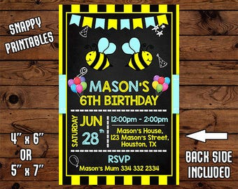 Bumble Bee Birthday Invitation, Bumble Bee Birthday Invite, Bumble Bee Party Invite, Printable, Digital File - 010