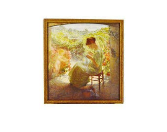 Vintage Print Woman Sewing in Garden Signed