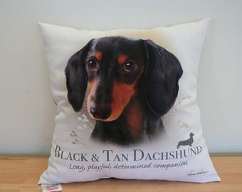 Black and Tan Dachshund Dog Cushion, opt2,  featuring the work of celebrated artist Howard Robinson. Exclusively licensed by Howard Robinson