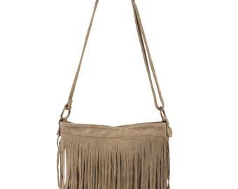 Bag shoulder bag suede with fringe, fringe shoulder bag, Brown shoulder bag shoulder bag, leather handbag bag Boho fringe suede