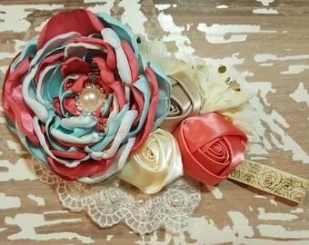 Great coral & aqua headband