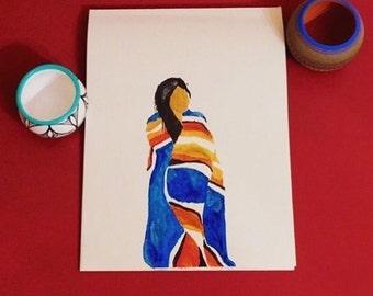 Watercolor Navajo Woman