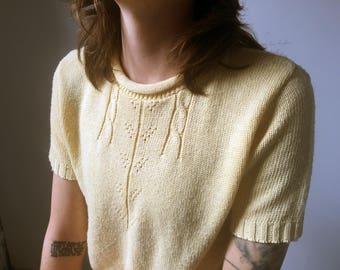 Vintage Light Custard Yellow Short Sleeve Sweater