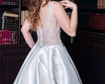 Wedding Dress Oceana  Elegant Wedding Dress  Unique Wedding  Romantic Wedding Dress Chic Wedding Dress  Long Train Dress  Open back dress
