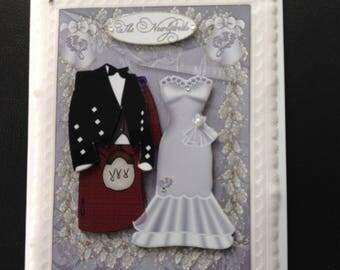 Wedding Card with Kilt & Brides Dress