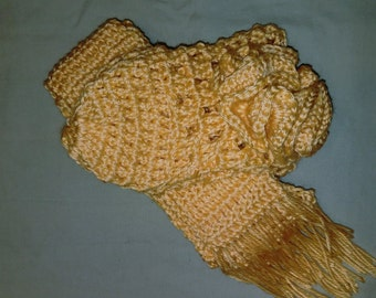 Yellow flower beanie and scarf