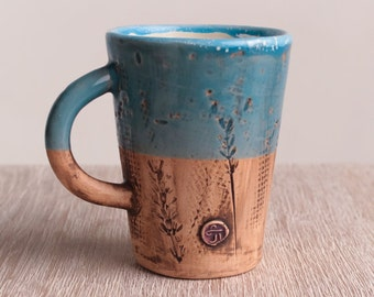 Ceramic mug, coffee cup, pottery, handmade, modern ceramic, stoneware, coffee mug, teacup, blue mug, tasses, ceramic coffee mug