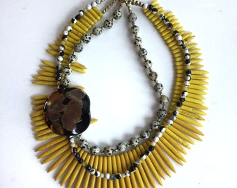 Tribal Art Deco Brooch Necklace