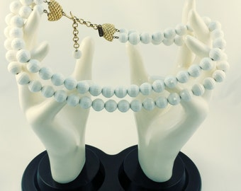 Monet Double Strand White Designed Beaded Chunky Necklace / Gifts For Her / Wedding / Anniversary / Stunning Statement Piece /