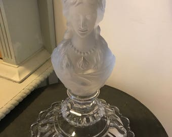 Glass Bust Candle Holder. Glass candle holder. Glass bust.