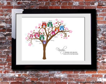 Family Tree Branch Owls Birth New Family Gift Present Shabby Chic Print Wood Effect Grey Any Colour Personalised