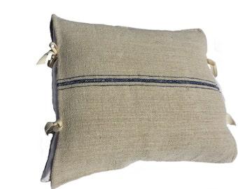 Cushion cover made of antique grain sack cloth