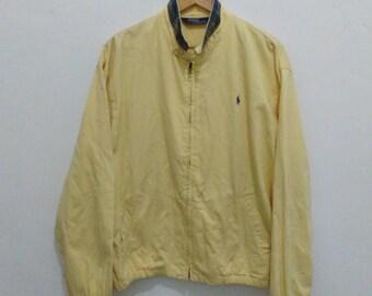Vintage Polo ralph lauren jacket denim zip up mens large L vintage yellow