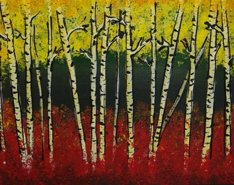 Original Birch Forest Art,Canvas Art  Abstract Acrylic, Palette Knife, Modern Birch Painting