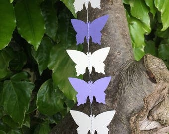 Purple and Grey Butterfly Garland, Decor, Party Decor, Celebrations