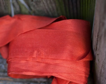 """Shimmering Naturally Dyed Madder Red 100% Silk Ribbons 24mm about 1"""" Wide Historical Color"""