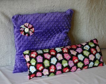 Hand Made, Throw Pillow, Childs room, Custom Designed, Owls, Pillow Set, Purple Pillow Set