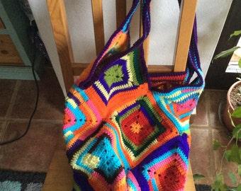 Large granny square tote market bag / overnight bag Boho colours