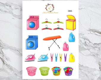 Laundry Stickers, Housework Stickers, House Chore Stickers, for use with  Erin Condren, Happy Planner