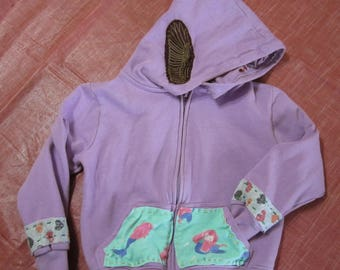 Girls upcycled patch hoodie