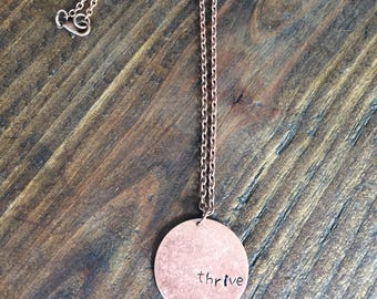 Thrive necklace/hand stamped/vintage/antique copper/gift/woman/christian