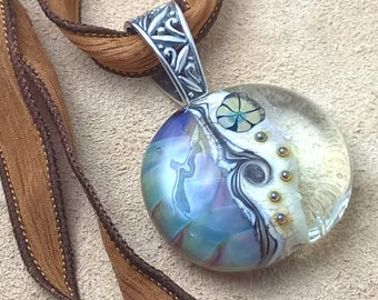 Lampwork Armadillo Pendant with Silk Ribbon and Sterling Silver Bail