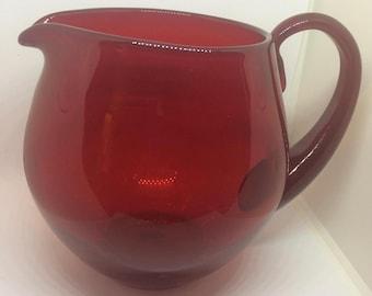 Vintage Red Handblown Glass Pitcher